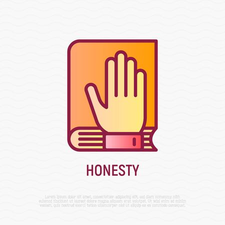 Honesty thin line icon. Oath: hand on bible or lawbook. Modern vector illustration.