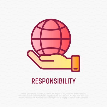 Social responsibility thin line icon: globe in hand. Modern vector illustration.