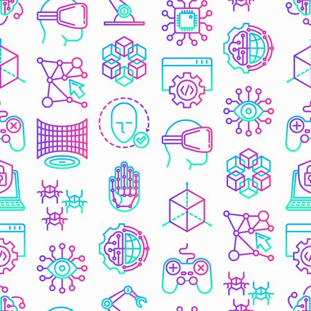 Cyber technology seamless pattern with thin line icons: ai, virtual reality glasses, bionics, robotics, global network, computer game, microprocessor, nano robots. Vector illustration. 일러스트