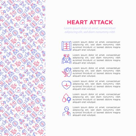 Heart attack symptomps concept wiht thin line icons: dizziness, dyspnea, cardiogram, panic attack, weakness, acute pain, cholesterol level, nausea, diabetes. Vector illustration, print media template. Archivio Fotografico - 131494968