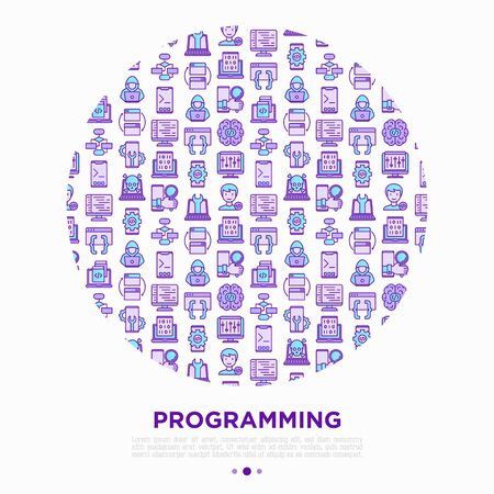 Programming concept in circle with thin line icons: developer, code, algorithm, technical support, program setup, porting, compilation, app testing, virus. Vector illustration, print media template. 일러스트
