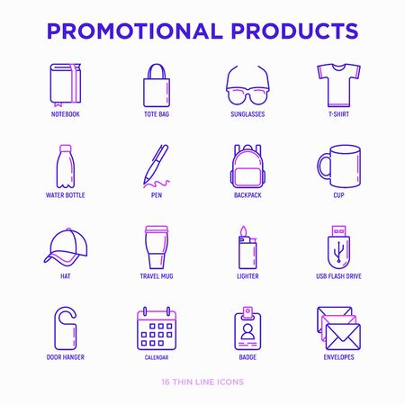 Promotional products thin line icons set: notebook, tote bag, sunglasses, t-shirt, water bottle, pen, backpack, cup, hat, travel mug, usb, lighter, calendar. Modern vector illustration. Иллюстрация