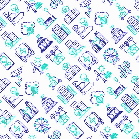 Smart city seamless pattern with thin line icons: green energy, intelligent urbanism, efficient mobility, zero emission, electric transport, balanced traffic, CCTV, telemedicine. Vector illustration.