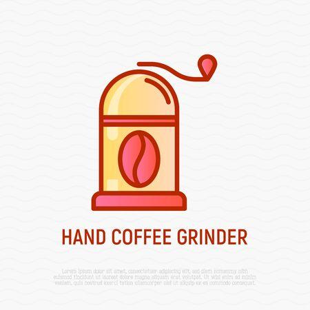 Hand coffee grinder with coffee bean thin line icon. Modern vector illustration for cafe Illusztráció