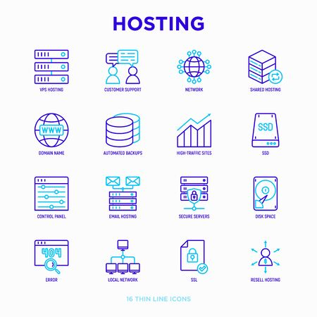 Hosting thin line icons set: VPS, customer support, domain name, automated backup, SSD, control panel, secure server, local network, SSL. Modern vector illustration. Ilustração