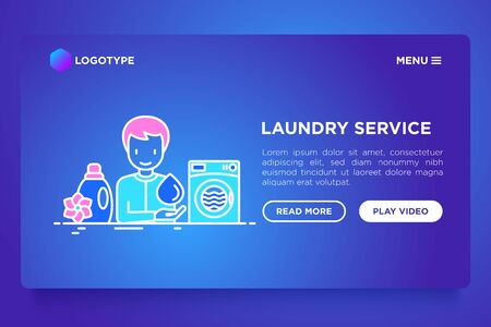 Laundry service concept thin line icons: washing machine, fabric softener. Vector illustration, web page template on gradient template.