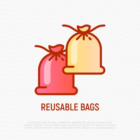 Reusable textile bags thin line icon. Modern vector illustration of zero waste eco bags.