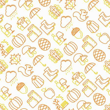 Nahtloses Herbstmuster mit dünnen Liniensymbolen: Ahorn, Pilze, Eichenblätter, Apfel, Kürbis, Regenschirm, Regen, Kerzen, Eichel, Gummistiefel, Regenmantel, Tannenzapfen, Eichhörnchen. Moderne Vektorillustration.