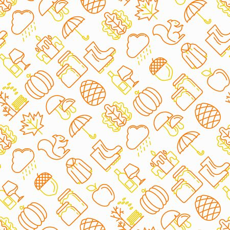 Otoño de patrones sin fisuras con iconos de líneas finas: arce, setas, hojas de roble, manzana, calabaza, paraguas, lluvia, velas, bellota, botas de goma, impermeable, piña, ardilla. Ilustración de vector moderno.