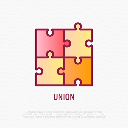 Union thin line icon: puzzle. Modern vector illustration.