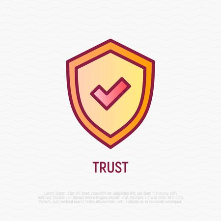 Trust thin line icon: shield with tick. Modern vector illustration.