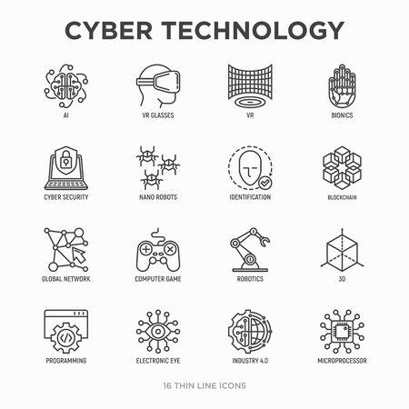 Cyber technology thin line icons set: ai, virtual reality glasses, bionics, robotics, global network, computer game, microprocessor, nano robots, blockchain, electronic eye. Vector illustration.