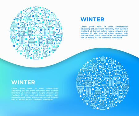 Winter concept in circle with thin line icons: fireplace, skates, mittens, snowflake, snowman, pullover, sledges, rocking chair, skiing, icicle, snowfall. Vector illustration, print media template.