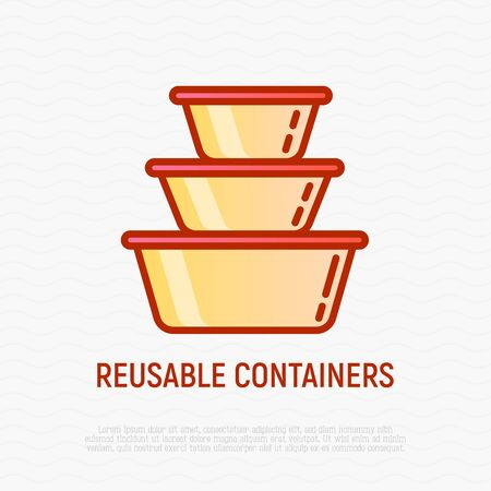 Reusable lunch containers thin line icons. Modern vector illustration.