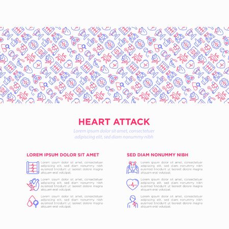 Heart attack symptomps concept wiht thin line icons: dizziness, dyspnea, cardiogram, panic attack, weakness, acute pain, cholesterol level, nausea, diabetes. Vector illustration, print media template. Фото со стока - 131495925