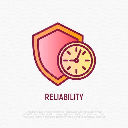 Reliability thin line icon: shield with clock. Symbol of support. Modern vector illustration.