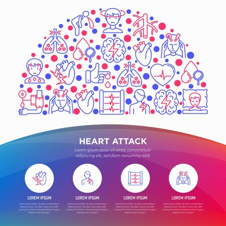 Heart attack symptomps concept in half circle thin line icons: dizziness, dyspnea, cardiogram, panic attack, weakness, acute pain, cholesterol level, nausea. Vector illustration, print media template