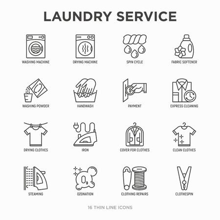 Wäscheservice Thin Line Icons Set: Waschmaschine, Schleudergang, Trockner, Weichspüler, Bügeleisen, Handwäsche, Waschpulver, Dämpfen, Ozonierung, Reparatur, Wäscheklammer. Moderne Vektorillustration.