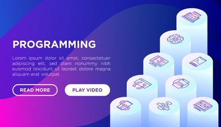 Programming concept with thin line isometric icons: developer, code, algorithm, technical support, program setup, porting, compilation, app testing, virus. Vector illustration, web page template.
