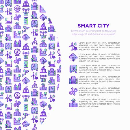 Smart city concept with  thin line icons: green energy, intelligent urbanism, efficient mobility, zero emission, electric transport, balanced traffic, CCTV. Vector illustration, print media template. Illustration