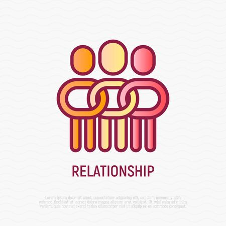 Relationship thin line icon: people in one community, support each other. Social tolerance. Modern vector illustration.