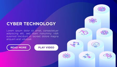 Cyber technology concept with thin line isometricicons: ai, virtual reality glasses, bionics, robotics, global network, nano robots, electronic eye. Vector illustration, web page template. 일러스트