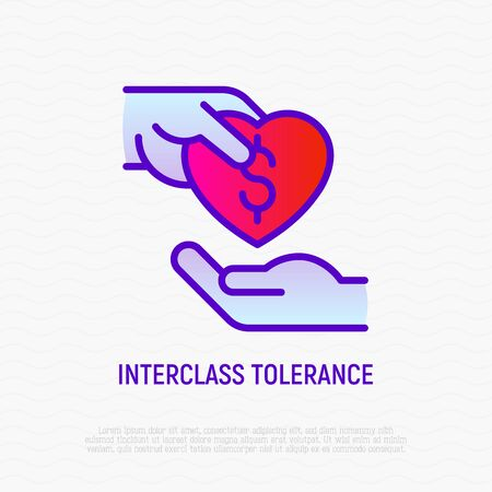 Interclass tolerance thin line icon: one hand donates to other. Symbol of charity for destitute. Modern vector illustration.