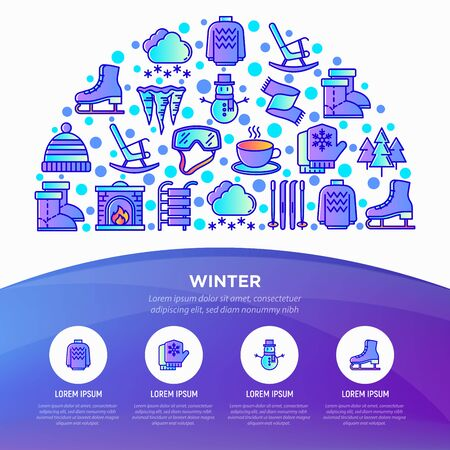 Winter concept in half circle with thin line icons: fireplace, skates, mittens, snowflake, scarf, snowman, pullover, sledges, rocking chair, skiing, icicle. Vector illustration, print media template.