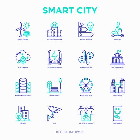 Smart city thin line icons set: green energy, intelligent urbanism, efficient mobility, zero emission, electric transport, balanced traffic, public spaces, CCTV, telemedicine. Vector illustration. Illustration