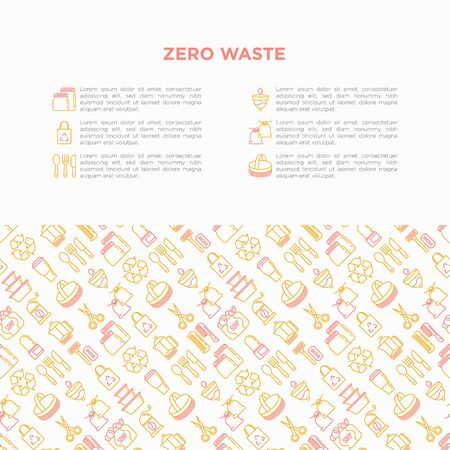 Zero waste concept with thin line icons: menstrual cup, safety razor, glass jar, natural deodorant, hand coffee grinder, french press, metal scissors, body brush, wooden comb. Vector illustration. Ilustração