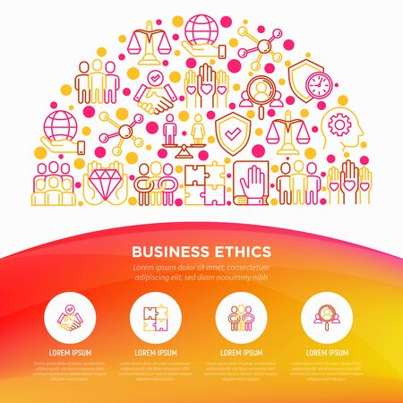 Business ethics concept in half circle with thin line icons: trust, honesty, responsibility, justice, commitment, no to racism, gender employment, core values. Vector illustration, web page template.