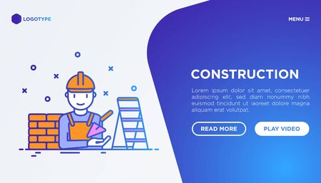 Construction concept with thin line icons: builder in helmet, brickwork, trowel, stepladder. Vector illustration, web page template.