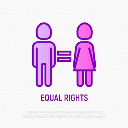 Equal gender rights thin line icon: woman and man are equal. Modern vector illustration.