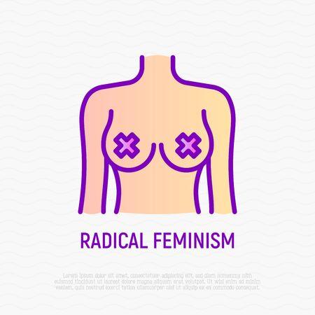 Radical feminism thin line icon. Naked breast for shocking protests. Modern vector illustration. Standard-Bild - 131503645