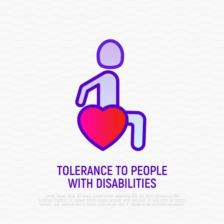 Tolerance to disabled thin line icon: man in wheelchair in heart shape. Symbol of support, care and understanding to people with disability.