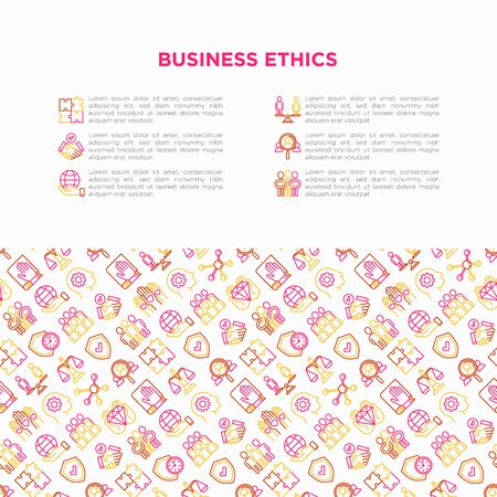 Business ethics concept with thin line icons: union, trust, honesty, responsibility, justice, commitment, no to racism, recruitment service, teamwork. Vector illustration, print media template. Ilustração