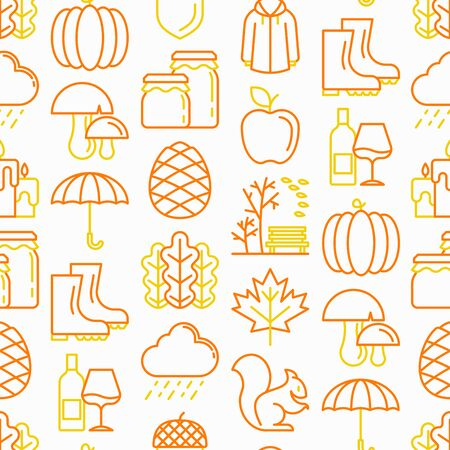 Autumn seamless pattern with thin line icons: maple, mushrooms, oak leaves, apple, pumpkin, umbrella, rain, candles, acorn, rubber boots, raincoat, pinecone, squirrel. Modern vector illustration.