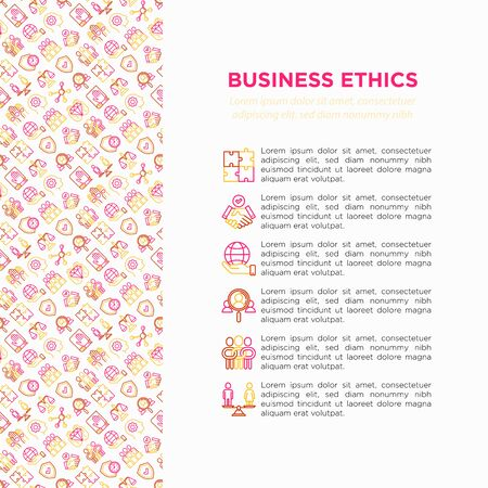 Business ethics concept with thin line icons: union, trust, honesty, responsibility, justice, commitment, no to racism, gender employment, core values. Vector illustration, print media template.