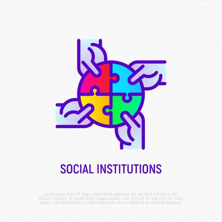 Four hands holding different pieces of puzzle. Symbol of social institutions, creative teamwork, connection and support. Thin line icon. Modern vector illustration.