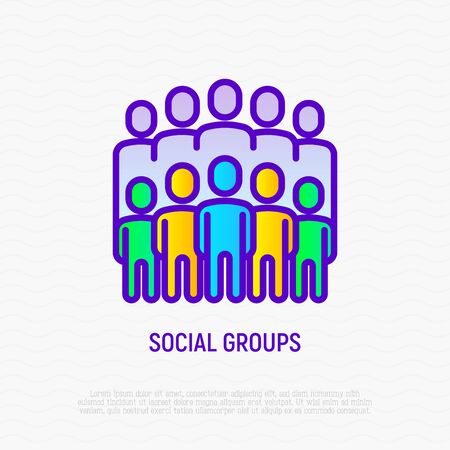 Social groups thin line icon. Modern vector illustration.