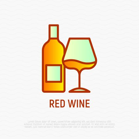 Bottle and glass with wine thin line icon. Modern vector illustration.
