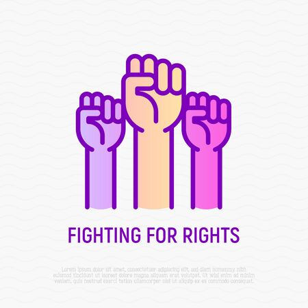 Fighting for rights thin line icon: three raised hands with fists. Modern vector illustration of revolution. Stock Illustratie