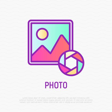 Photo thin line icon. Modern vector illustration for gallery.