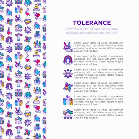 Tolerance concept with thin line icons: gender, racial, religious, sexual orientation, interclass, disability, respect, self-expression, human rights, democracy. Vector illustration for print media.