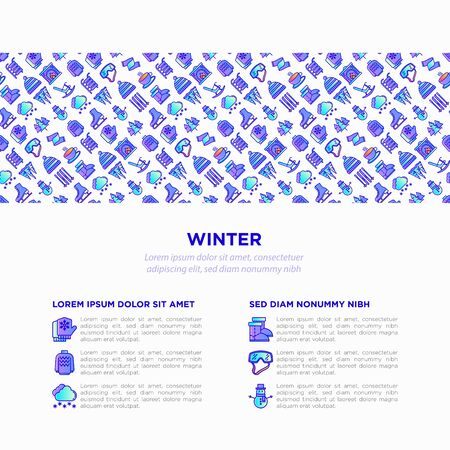 Winter concept with thin line icons: fireplace, skates, mittens, snowflake, scarf, snowman, pullover, sledges, rocking chair, skiing, icicle, snowfall. Modern vector illustration, print media template