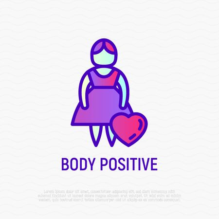 Body positive thin line icon: woman size plus with heart. Modern vector illustration.