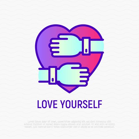 Love yourself thin line icon: hands hug heart. Modern vector illustration of selfcare and self acceptance. 스톡 콘텐츠 - 131503931