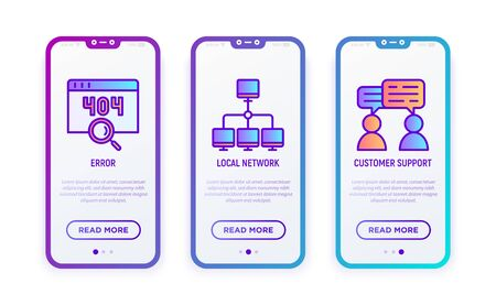 Hosting thin line icons set: error, customer support, local network. Modern vector illustration for user mobile interface.
