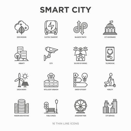 Smart city thin line icons set: green energy, intelligent urbanism, efficient mobility, zero emission, electric transport, balanced traffic, public spaces, CCTV, telemedicine. Vector illustration. Иллюстрация