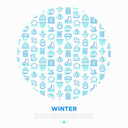 Winter concept in circle with thin line icons: fireplace, skates, mittens, snowflake, scarf, snowman, pullover, sledges, rocking chair, skiing, icicle, snowfall. Vector illustration for print media.